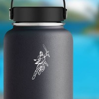 Knight Or Warrior Running With Sword Sticker on a Water Bottle example