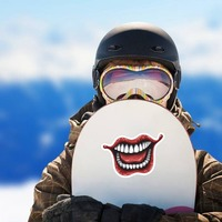 Laughing Joker Comic Sticker on a Snowboard example
