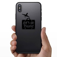Lets Go Travel Suitcase Sticker on a Phone example