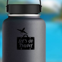 Lets Go Travel Suitcase Sticker on a Water Bottle example