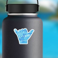Life is Better at the Beach Hippie Sticker on a Water Bottle example