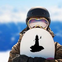 Lighthouse With Seagulls Sticker on a Snowboard example