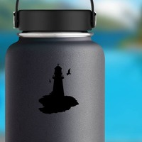Lighthouse With Seagulls Sticker on a Water Bottle example