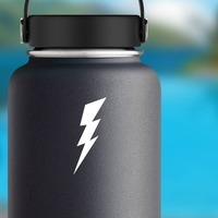 Classic Lightning Bolt Sticker on a Water Bottle example