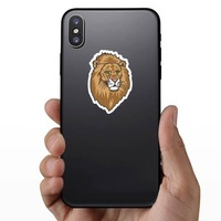 Lion Head Mascot Sticker on a Phone example