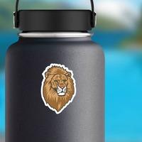 Lion Head Mascot Sticker on a Water Bottle example