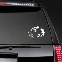 Lion Head Of Flames Sticker on a Rear Car Window example