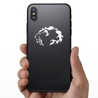 Lion Head Of Flames Sticker on a Phone example