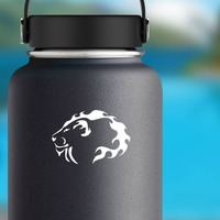 Lion Head Of Flames Sticker on a Water Bottle example