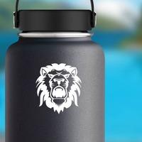 Lion Head Roaring Sticker on a Water Bottle example