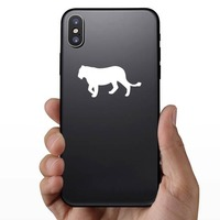 Lion Lioness Silhouette Sticker on a Phone example