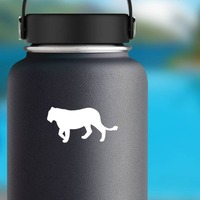 Lion Lioness Silhouette Sticker on a Water Bottle example