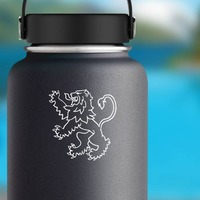 Lion Rampant Sticker on a Water Bottle example