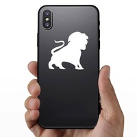 Lion Silhouette With Tail In The Air Sticker on a Phone example
