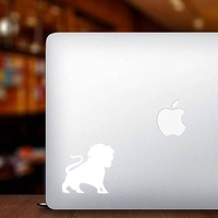 Lion Silhouette With Tail In The Air Sticker on a Laptop example