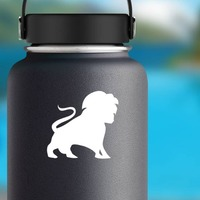 Lion Silhouette With Tail In The Air Sticker on a Water Bottle example