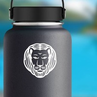 Lion With Combed Mane Sticker on a Water Bottle example