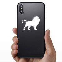 Lion With Crazy Mane Sticker on a Phone example