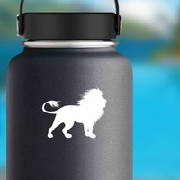 Lion With Crazy Mane Sticker on a Water Bottle example