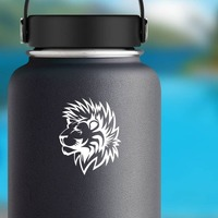 Lion With Furry Mane Sticker on a Water Bottle example