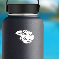 Lion With Mane Sticker on a Water Bottle example