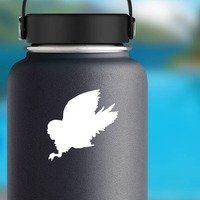Lively Owl Bird Sticker on a Water Bottle example