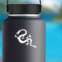 Long Angry Dragon Sticker on a Water Bottle example