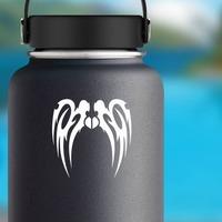 Long Tribal Wings Design Sticker on a Water Bottle example