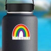 Love Is Love Rainbow Sticker on a Water Bottle example
