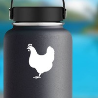 Lovely Chicken Sticker on a Water Bottle example