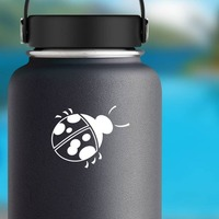 Lovely Ladybug Sticker on a Water Bottle example