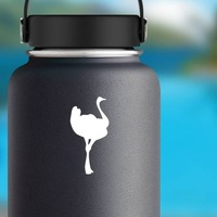 Lovely Ostrich Sticker on a Water Bottle example