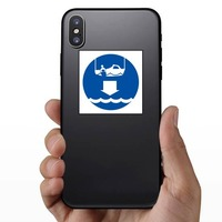 Lower Rescue Boat Sign Sticker on a Phone example