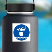 Lower Rescue Boat Sign Sticker on a Water Bottle example