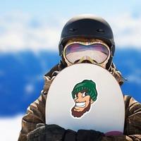 Lumberjack Mascot Sticker on a Snowboard example