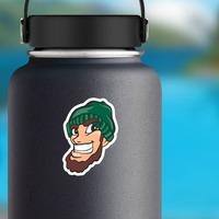 Lumberjack Mascot Sticker on a Water Bottle example