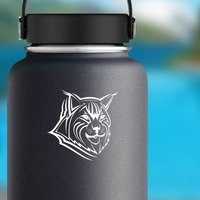 Lynx Face Sticker on a Water Bottle example