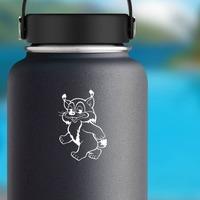 Cartoon Walking Lynx Sticker on a Water Bottle example