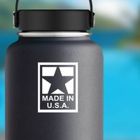 Made In Usa Sticker on a Water Bottle example