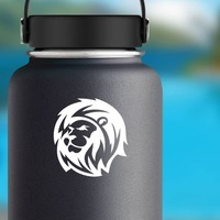 Magnificent Lion Sticker on a Water Bottle example