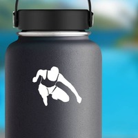 Male Runner Sticker on a Water Bottle example