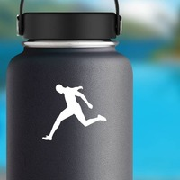 Man Sprinting to the Finish Line Sticker on a Water Bottle example