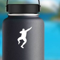 Man Throwing the Shot Put Sticker on a Water Bottle example