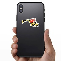 Maryland Flag State Sticker on a Phone example