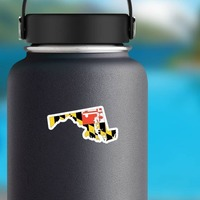 Maryland Flag State Sticker on a Water Bottle example