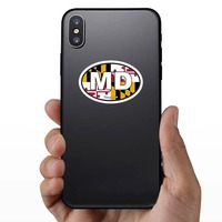 Maryland Md State Flag Oval Sticker on a Phone example