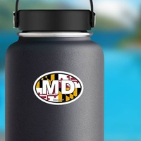 Maryland Md State Flag Oval Sticker on a Water Bottle example
