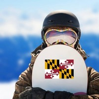Maryland Md State Flag Sticker on a Snowboard example