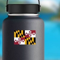 Maryland Md State Flag Sticker on a Water Bottle example