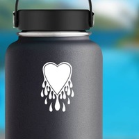 Melting Heart Dripping Sticker on a Water Bottle example